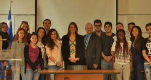 Her Excellency the Ambassador of Panama to Greece, Cristina Liakopoulos De Papadikis, with students from New York College's International Relations Department, the Associate Dean and Head of the International Relations Department of New York College, Mr. Leonidas Gontzes (center), the Director of Public Relations at New York College, Dr. Yannis Fikas (left), and the Ambassador's husband, Mr. Papadikis (right).